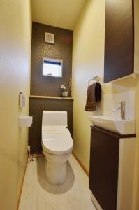 手前の壁厚収納にはトイレットペーパーやお掃除シートなどを入れれます。