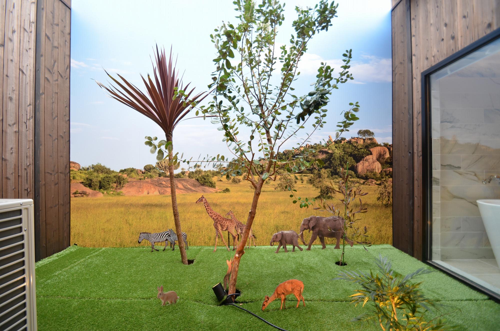 動物たくさんの中庭♪お子様が見ると大はしゃぎですね