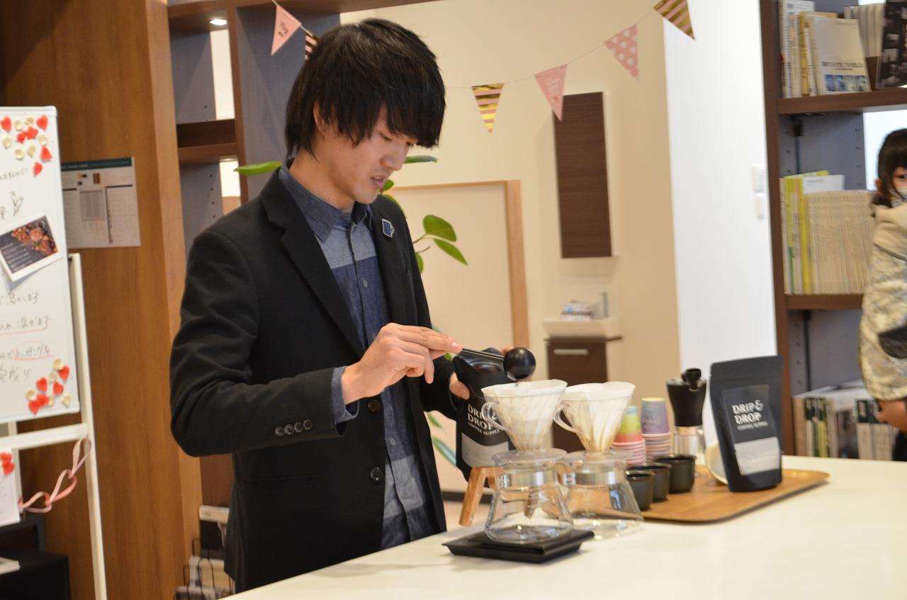 チョコを固めている間に、日本一のバリスタ林氏によるおうちでの美味しいコーヒーの淹れ方レクチャーです♪