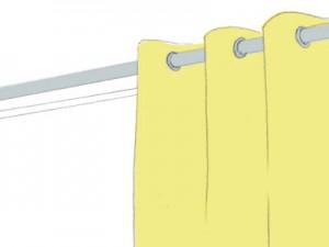 ハトメ: ポールに通して吊るすシンプルなスタイル
