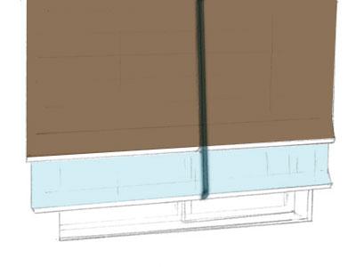 ツインシェイド: 1台のメカで前後2枚の幕体を操作できます。前後でタイプの違うシェードも組み合せできます。